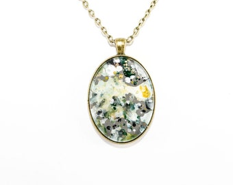 Abstract Art Drip Painting Pendant - Acrylic & Brass Necklace - Gray, Aqua, Green, Navy, White (Original Painting in Oval Setting)