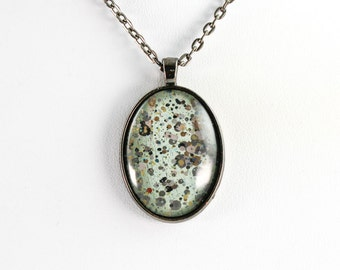 Abstract Art Drip Painting Pendant - Glass in Gunmetal Oval Necklace - Aqua, Black, Gold, Gray - Jewelry Gifts for Her