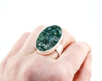 Splatter Painted Adjustable Ring - Acrylic in Oval Silver Ring - Emerald Isle Colorway: Dark Green, Gray, Teal, Gold