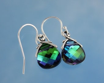 Aqua Sphinx briolette earrings, sterling silver hooks - blue & fern green color changing crystals - free shipping in the USA