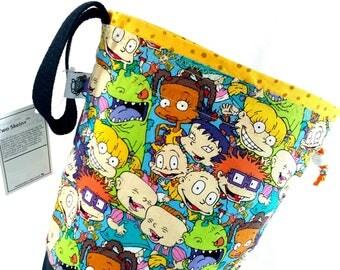 Medium Project Bag Knitting Crochet Drawstring -  Rugrats