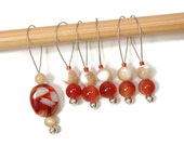 Knitting Stitch Markers Snag Free DIY Beaded Stitch Markers Rust Red Beige Gift for Knitter Craft Supplies TJBdesigns