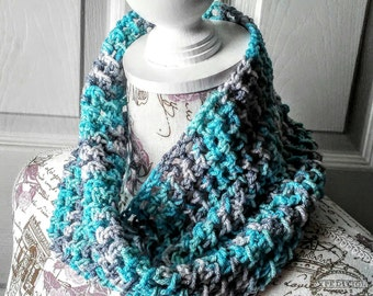 Twisted Neck Warmer Cowl in Blue and Gray