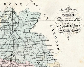 1800s Antique Map of Gers, France - Inset of Auch - French map - Hand-coloured map