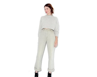WTF HALF OFF pale Olive Green vintage jeans / small medium / mom jeans high waisted jeans boyfriend jeans very rare color