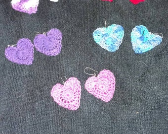 Crocheted Heart Earrings