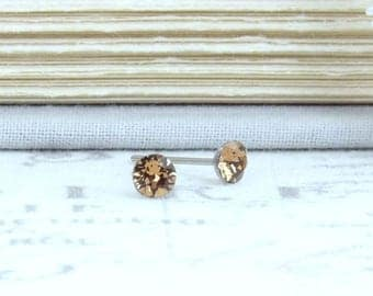 Brown Studs Small Earrings Brown Stud Earrings Brown Crystal Studs 4mm Studs Surgical Steel Studs