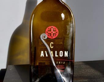Cab Avalon  Slumped Wine Bottle with Scrolled cheese spreader