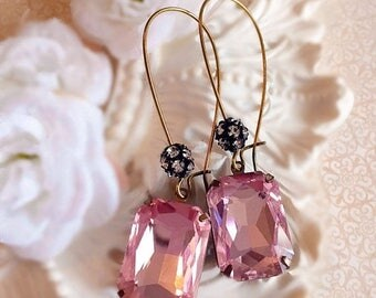 SALE 20% Off Romantic Jewelry for Her - Blush Pink - Drop Earrings - Crystal Earrings - MADELINE Pink