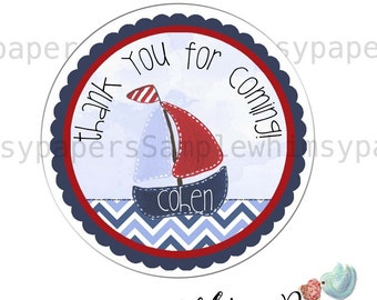 Personalized Sailboat Stickers, Thank You Stickers, Party Favor Labels