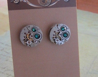 Emerald Steampunk Stud Earrings with Mechanical Watch Movement, Steampunk Earrings , Steampunk jewelry