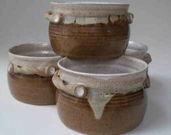 MADE TO ORDER Set of 4 Brown and White Rustic Soup Crocks with Handles, Hostess and Gourmet, Chili Bowls and Serving, Onion Soup Bowls