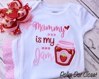 "Mothers Day Bodysuit ""mommy is my Jam"" strawberry bodysuit with ruffle legs"