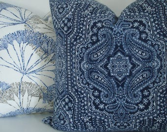 CHOOSE  YOUR  DESIGNS -Deep Indigo Ivory Medallion and Floral Sprays Designs  -Decorative Designer Pillow Covers - Throw and Lumbar Covers