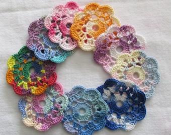 Crochet Mini Doilies, Embellishments, Appliques, Variegated Motifs - set of 9