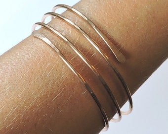 Wide Bronze Bangle - Open End Layered Bangle Bracelet - Rose Colored Bangle - Bronze Bangle - Hammered Bracelet - Made to Order