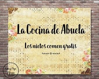 La Cocina de Abuela, La Cocina Wall Art, DIGITAL, YOU PRINT, Spanish Grandmothers Kitchen, Mothers Day Gift Ideas,Abuela's  Cocina