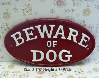 Beware of Dog Small Cast Iron Sign Red White Gate Fence Home Decor