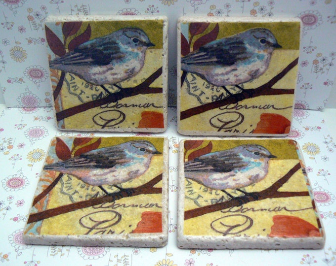 Bird Natural Stone Tile 4x4 Drink Coaster Set of 4 Kitchen Living Design