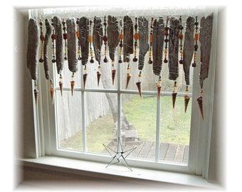 Beachy Swag Beaded  Natural Driftwood Window Treatment Valance Curtain