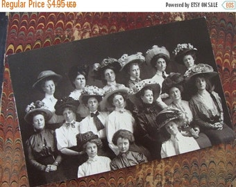ON SALE Victorian Post Card Ladies in Hats Mad Hatters