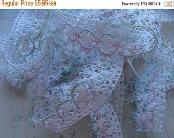 ONSALE Vintage Pink Cotton Scrumptious Pastels Lace Yardage Vintage  Lot