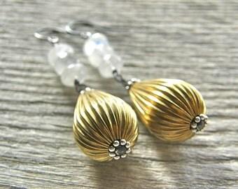 Moonstone and Gold Brass Corrugated Metal Teardrop Earrings
