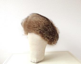 1950s hat / Winter fur hat / Mink fur hat