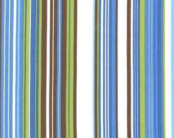 SALE FABRIC - New Traditions Green, Blue and Brown Stripe Fabric - Robert Kaufman Fabrics - 100% Cotton Fabric - 1 yard
