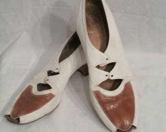 Vintage peep toe pumps,  size 10, white and caramel brown