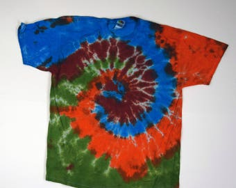 Mother Earth Spiral Tie Dye T-Shirt (Fruit of the Loom Heavy HD Size XL) (One of a Kind)