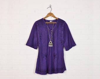 Vintage India Tunic Top India Blouse India Top India Shirt India Embroidered Blouse Ethnic Top Boho Top Hippie Top 70s 90s Purple M Medium