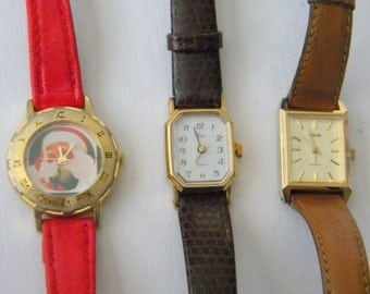 Lot of 3 Watches Watch Santa, Phasar, Timex Pieces Parts Steampunk Faces, Bands Red Brown