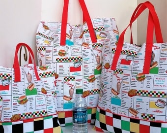 Shopping Bag Retro Diner Lunch Counter Menu / Lunch / Market / Grocery Tote /Retro
