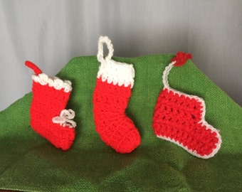 Stocking Ornaments Set of 3 Red White Crochet Knit Yarn Christmas Vintage Distressed Handmade Holiday Decor Gift Tag