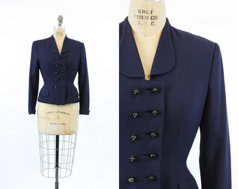 40s Jacket Rothmoor XS / 1940s Vintage Jacket Double Breasted Fitted / Nordic Navy Jacket
