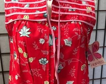 NOS 1970s Vintage Heiress Red Floral Lounge House Shift Dress S Zipper Front