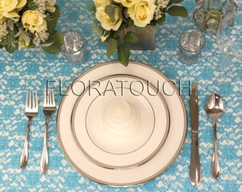 Pool Blue Light Turquoise Lace Tablecloth Wedding Table Overlay
