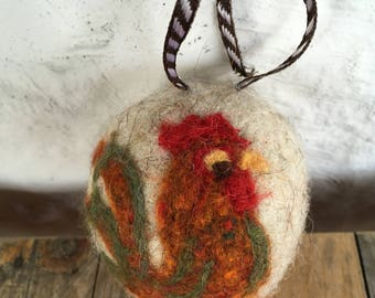 Rooster in Green and Brown, Felted Wool Toy Sculpture , small