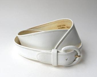 80s vintage Avant Garde White Leather Belt / Anne Klein for Calderon