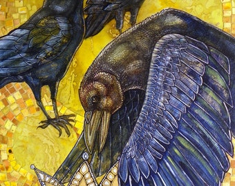 """Original """"King of Crows"""" Mixed Media Artwork by Lynnette Shelley"""