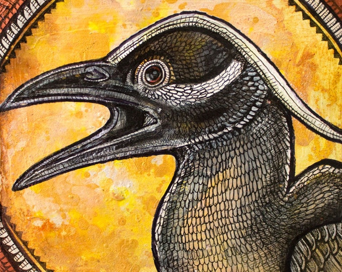 Original Yellow Crowned Night Heron Painting by Lynnette Shelley