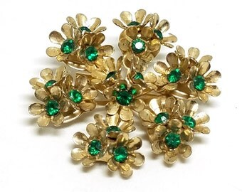 Coro Vintage Floral Pin Green Rhinestones Gold Tone