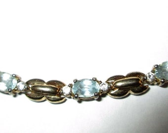 BRACELET -  Light BLUE TOPAZ - Czs - Vermeil   - 925  - Estate Sale - Sterling Silver -  7   inches   bracelet356