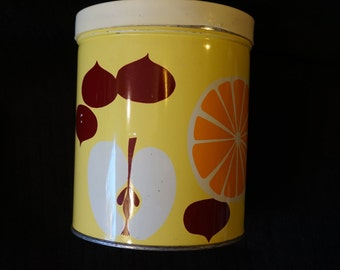 Vintage Kitschy Kitchen Canister Yellow with Fruit and Veggies  White Lid