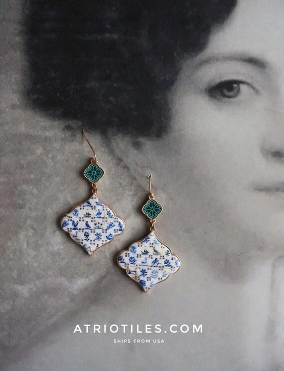 Portugal Lisbon Antique Azulejo Tile Replica Earrings- 1837  Pasteis de Belem Delft Style - PERSIAN Valentines
