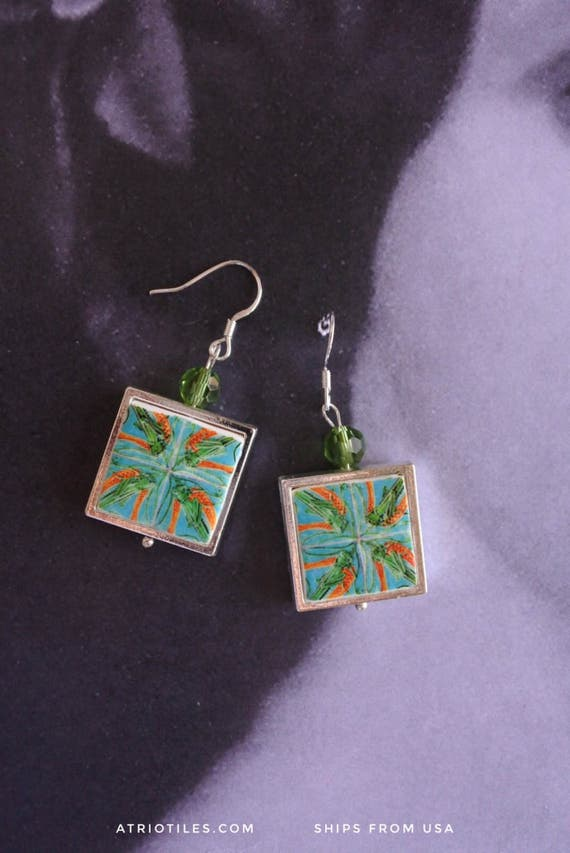 Silver Portugal Tile Earrings Azulejo Portuguese Antique FRAMED Caldas da Rainha Bordallo Pinheiro Grasshopper Cricket Ceramic Gift Box 928