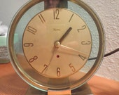 Vintage Art Deco / Mid Century Modern Westclox Oracle Glass and Brass Clock works great! Mantle Clock