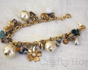 Stud Earring Charm Bracelet - flowers and pearls, romantic, upcycled jewelry, salvage