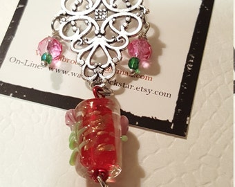 VINTAGE Series -  Rosy Valentine with Green Crystals and Filigree Bling - Zipper Pull or Rearview Mirror Charm or Fan Pull